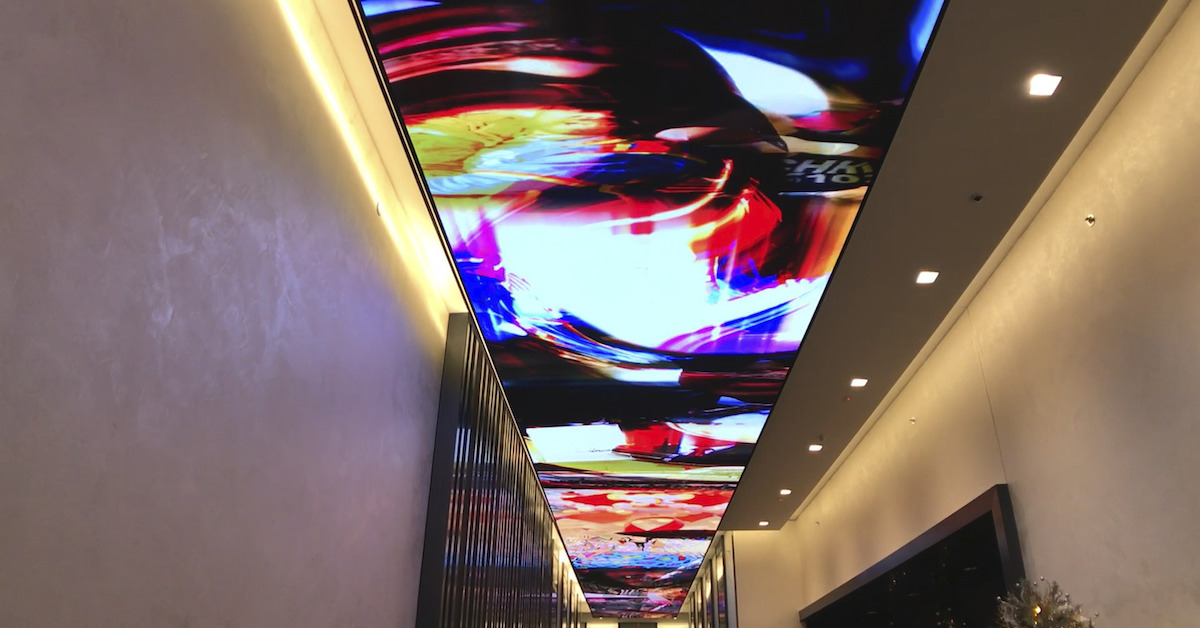 Custom ceiling changes with real time information feed.